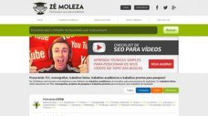 Layout do Site zemoleza.com.br