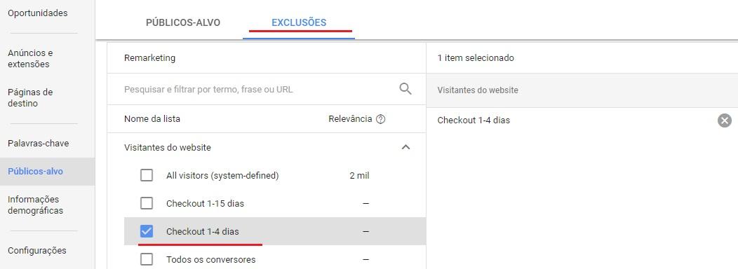 Combinação de listas de remarketing feitas diretamente na campanha de Google Adwords