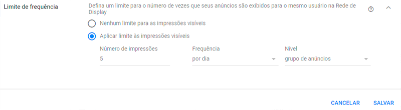 Limite de frequência da Rede de Display do Google Adwords