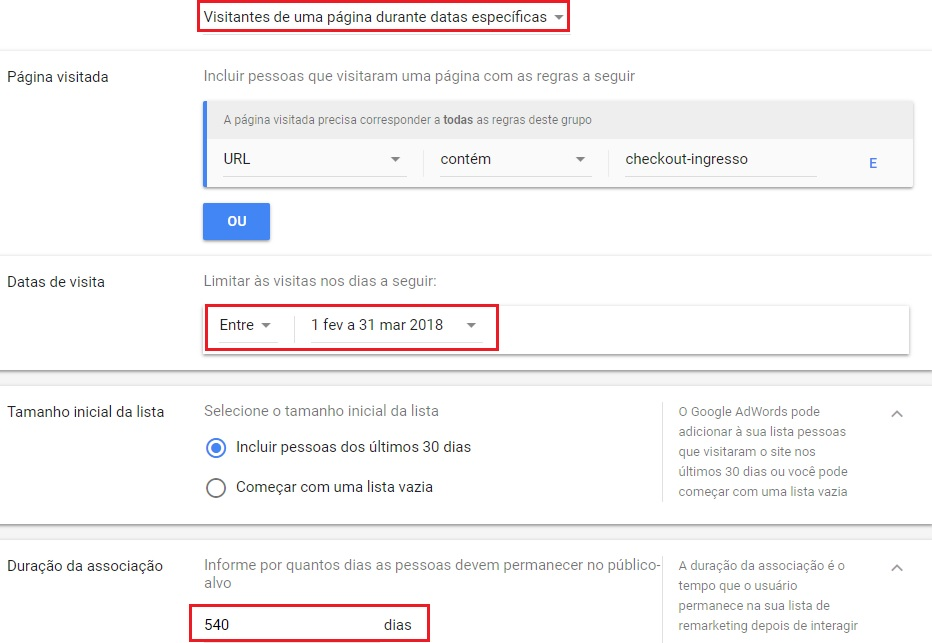 Lista de remarketing do google adwords por data