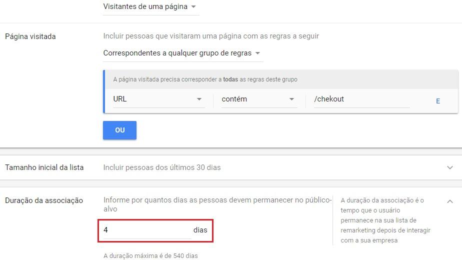 Lista de remarketing do Google Adwords para 4 dias de associação