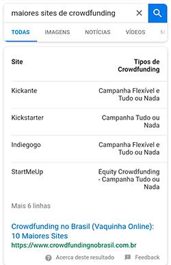 Google Answer Box Table Mobile
