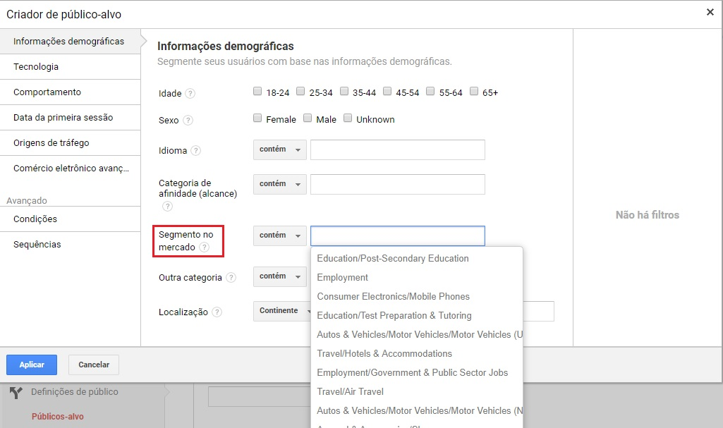 Segmentar audiência de mercado no Google Analytics