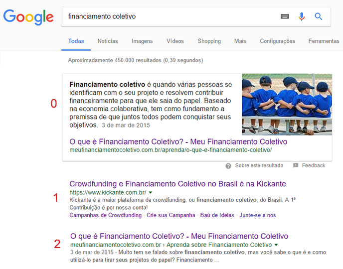 Resultado de Posição Zero do Google para Desktop