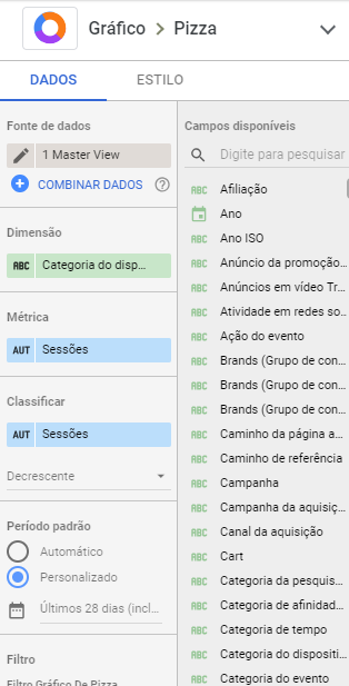Editar gráfico do google data studio