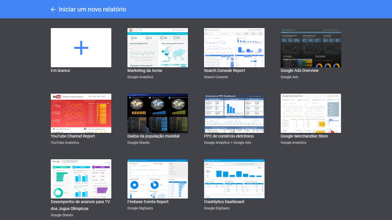 modelos de relatórios do Google Data Studio