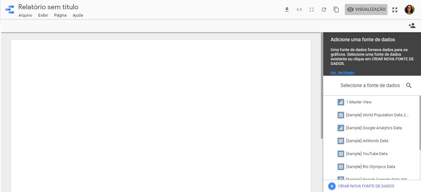 Relatório em branco do Google Data Studio