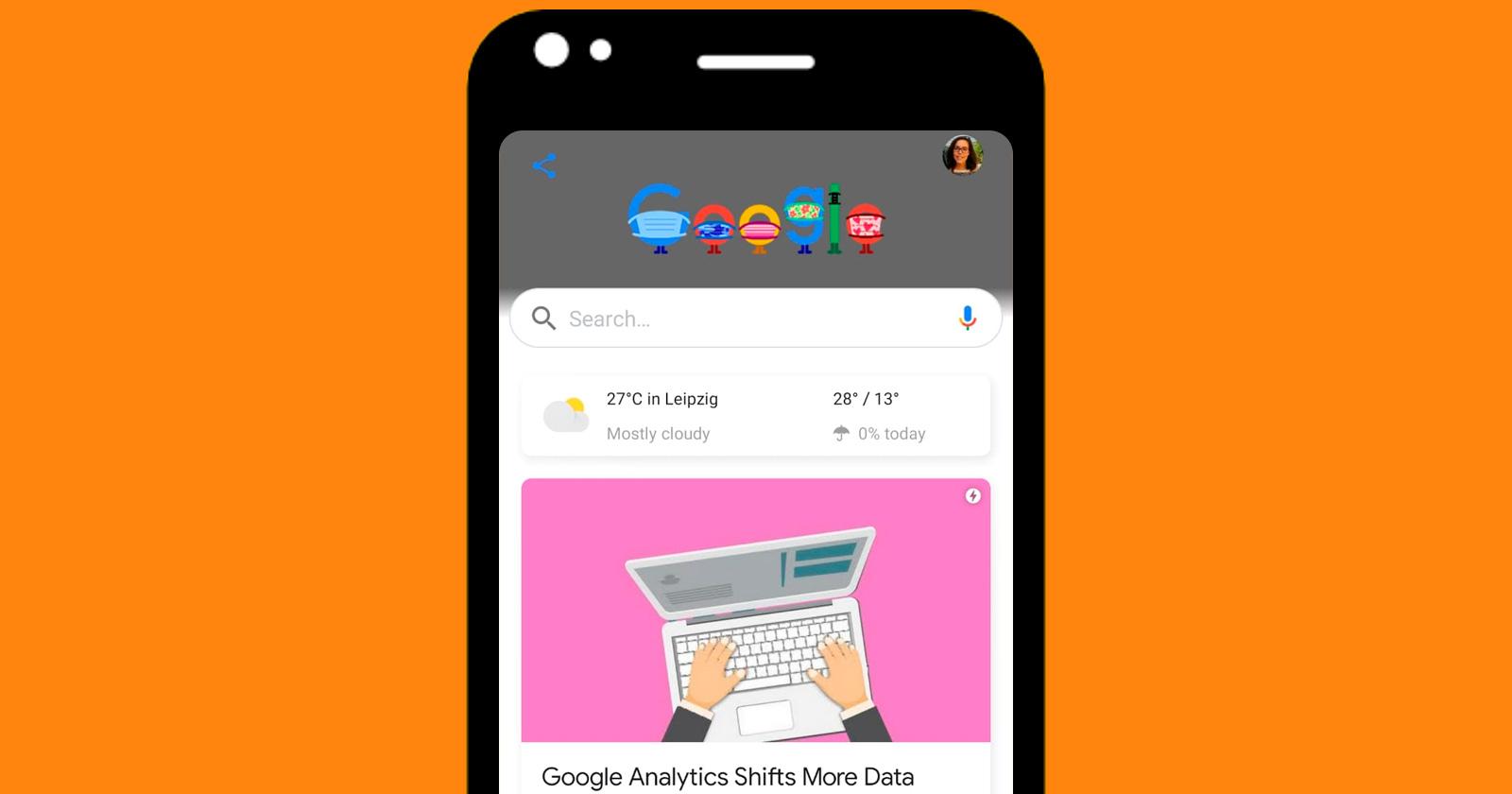 Telas do Google Discover