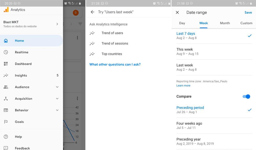 telas do google analytics para android versão v4.0.322243367.